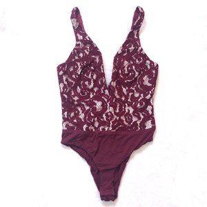 Bardot Wine Red Lace Julia Deep-V Bodysuit